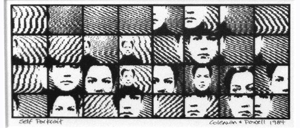 Connie Coleman:  self portrait print - z-80 dot matrix print. software by David Jones 1981