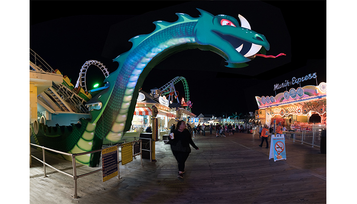 """Dragon over the Boardwalk"" Morey's Piers at Night, Wildwood New Jersey, photo by Alan Powell , 2017"