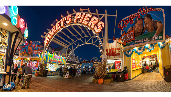 Morey's Piers at Night, Wildwood, New Jersey, photo by Alan Powell, 2017