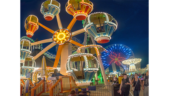 """Small Ferris Wheel"" Morey's Piers at night Wildwood New Jersey, photo by Alan Powell, 2017"